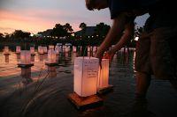 Lighting Lanterns at the Morikami Obon Festival